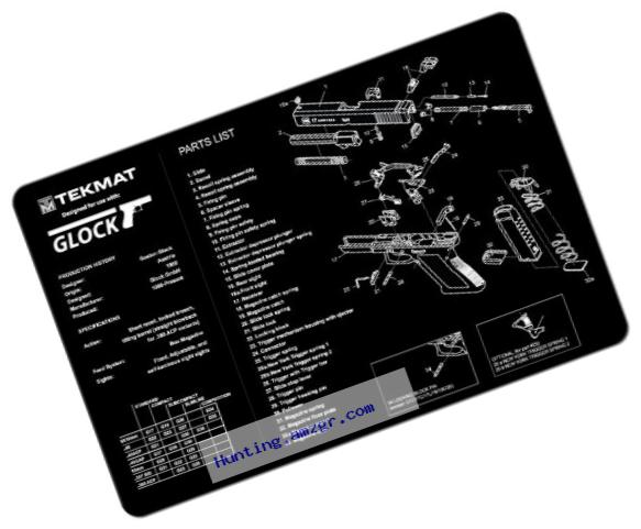 TekMat Glock Gun Cleaning Mat / 11 x 17 Thick, Durable, Waterproof / Handgun Cleaning Mat with Parts Diagram and Instructions / Armorers Bench Mat / Black